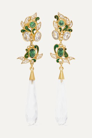 Gold Gold-plated and enamel multi-stone earrings | Percossi Papi | NET-A-PORTER