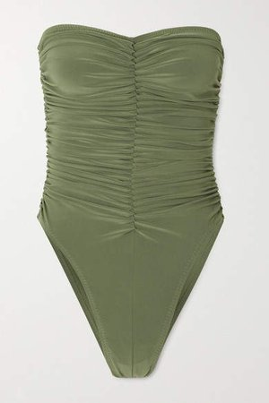 Marissa Ruched Bandeau Swimsuit - Green
