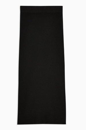 Black Midi Knitted Skirt | Topshop