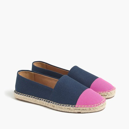 Canvas colorblock cap-toe slip-on espadrilles