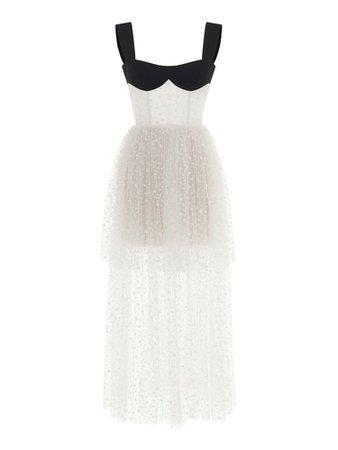 Sleeveless black and white sheer mini dress