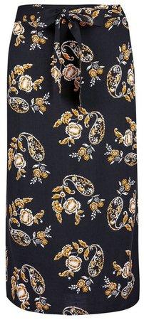 Black Floral Print Tie Back Midi Skirt