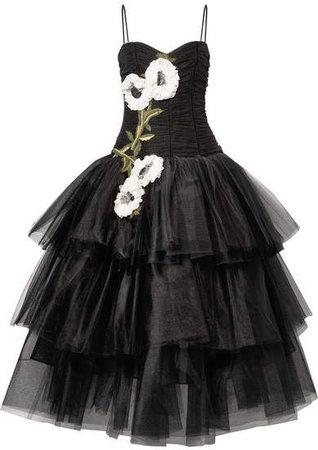 Appliquéd Embellished Velvet-trimmed Tulle Gown - Black