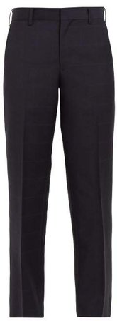 Windowpane Check Wool And Mohair Cropped Trousers - Womens - Navy