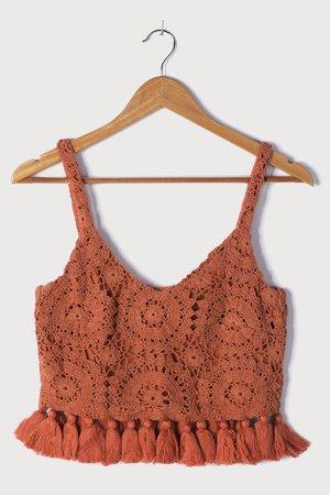 Rust Orange Crochet Crop Top - Crochet Lace Top - Tasseled Top - Lulus