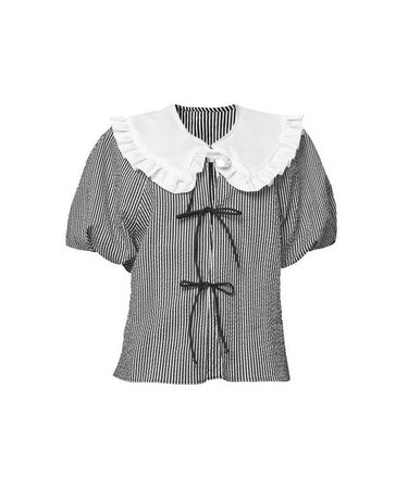 black and white striped baby doll collar blouse