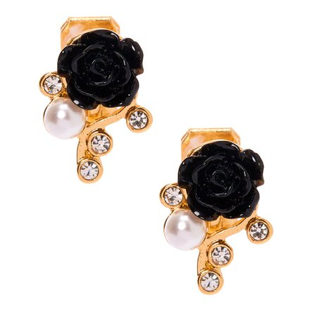 Gold Clip On Floral Stud Earrings - Black