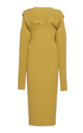 Ribbed Knit Cutout Midi Dress by Bottega Veneta   Moda Operandi