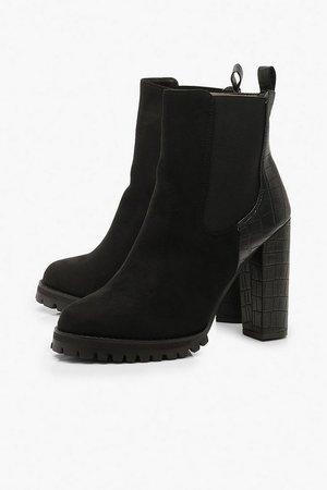 Croc Panel Heeled Hiker Boots | Boohoo