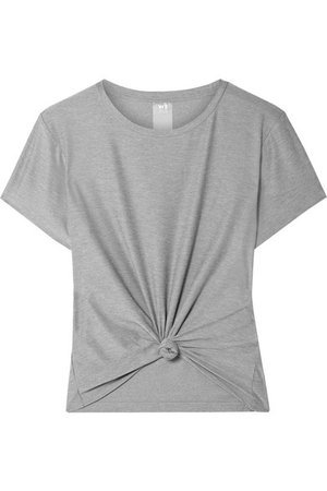 We/Me   The Foundation cropped knotted stretch-jersey T-shirt   NET-A-PORTER.COM