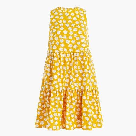 Printed sleeveless tiered mini dress in cotton poplin