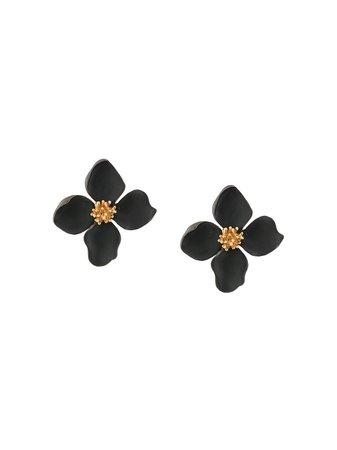 OSCAR DE LA RENTA painted flower earrings