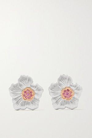 Silver Gardenia sterling silver and pink gold vermeil sapphire earrings | Buccellati | NET-A-PORTER