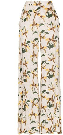orchid print flared trousers
