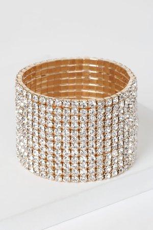 Glam Rhinestone Bracelet - Gold Cuff Bracelet - Rhinestone Cuff