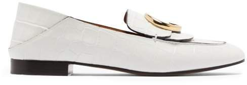 Crocodile Effect Collapsible Heel Leather Loafers - Womens - White