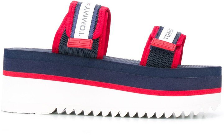 Platform-Sole Touch-Strap Sandals