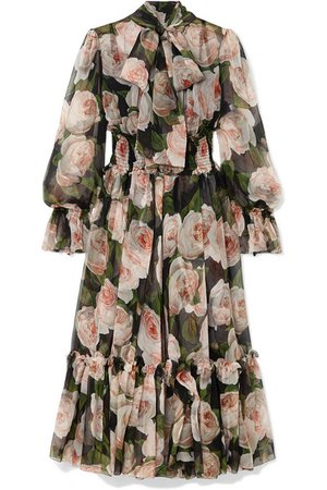 Dolce & Gabbana | Pussy-bow floral-print silk-chiffon dress | NET-A-PORTER.COM
