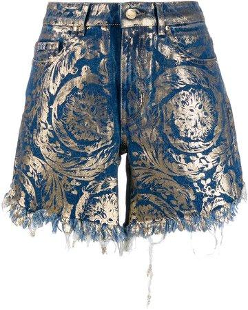 metallic denim shorts