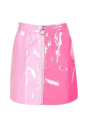 Vinyl Two Tone Zip Woven Mini Skirt   Boohoo