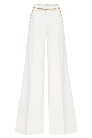 HIGH WAISTED STRAIGHT CUT PANTS WITH GOLD STRIPE AND BUTTON DETAILS - RAISAVANESSA