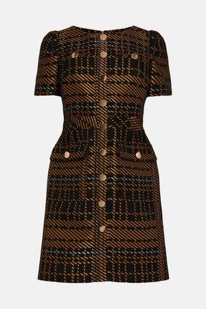 Statement Check Jacquard Short Dress | Karen Millen