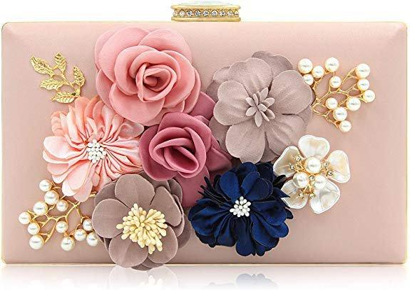 Milisente Evening Bag for Women, Flower Wedding Evening Clutch Purse Bride Floral Clutch Bag(Navy Blue): Handbags: Amazon.com