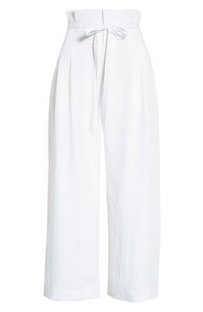 Club Monaco Paperbag Waist Wide Leg Crop Pants | Nordstrom