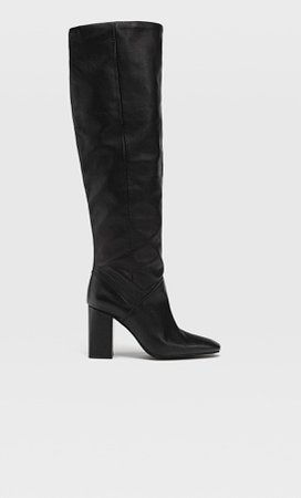 High-heel leather boots - Women's Just in | Stradivarius United States black