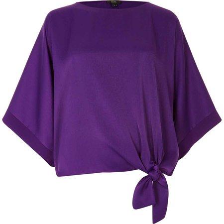 Purple knot side T-shirt - Blouses - Tops - women