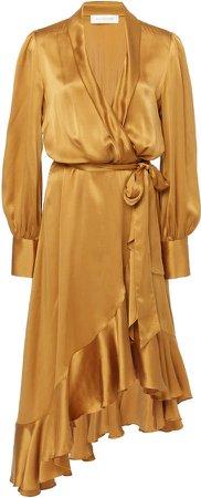 Asymmetric Silk-Satin Wrap Dress