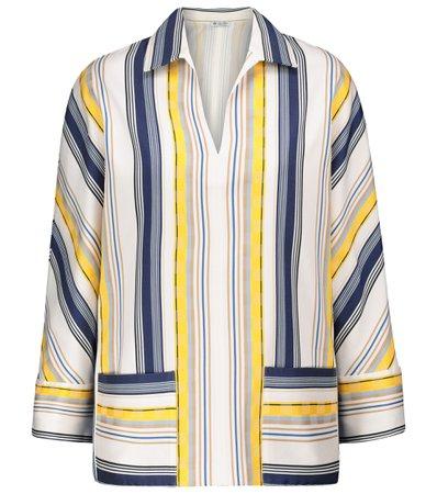 Loro Piana, Mollie striped cotton and silk shirt