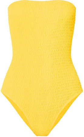 Shirred Bandeau Swimsuit - Yellow