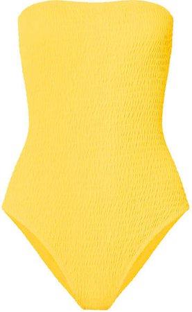 Shirred Bandeau Swimsuit - Yellow