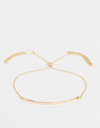 ASOS DESIGN bracelet with toggle chain and metal bar in gold tone | ASOS