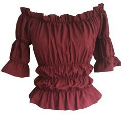 Red Burgundy Gothic Gypsy Medieval Peasant Pirate Wench Bustier Blouse Top