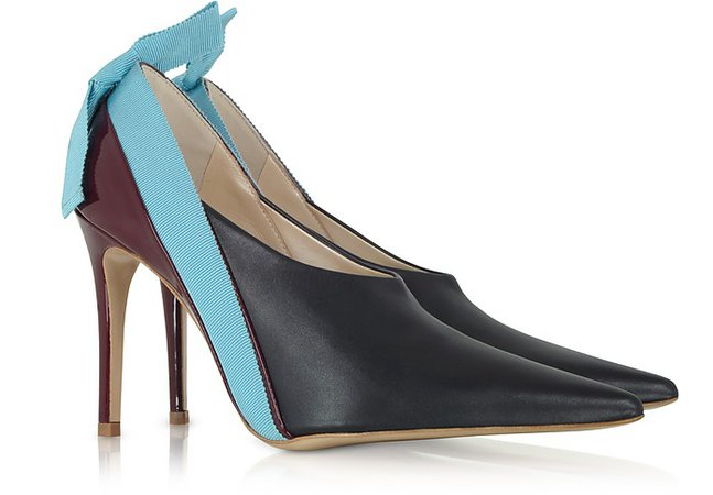 Delpozo Marine, Light Blue and Burgundy Patent Leather Booties 35 IT/EU at FORZIERI