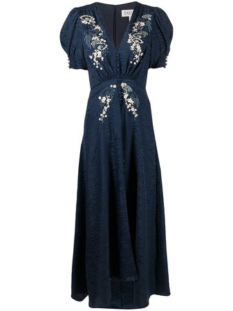 Saloni Floral Embroidered Flared Dress - Farfetch