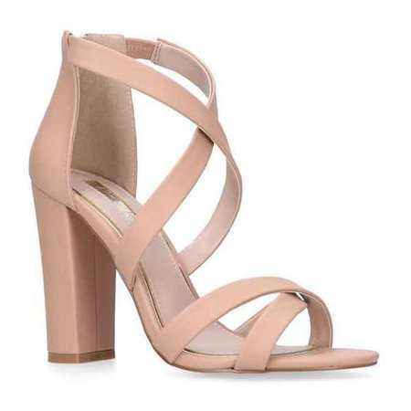 MISS KG Faun Nude High Heel Sandals (5.580 RUB) ❤ liked on Polyvore featuring shoes, sandals, heels, wrap sandals, wrap shoes, monk-strap shoes, nude sandals and nude strappy shoes