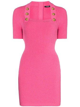 Balmain square-neck Knitted Mini Dress - Farfetch