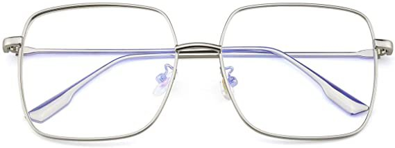 Amazon.com: Mimoeye Blue Light Blocking Glasses Oversized Metal Square Non Prescription Computer Glass for Women and Men Kids: Clothing