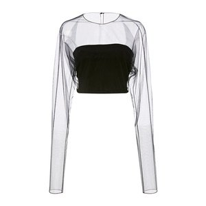 Romey Paneled Crepe And Tulle Bustier Crop Top by Cushnie