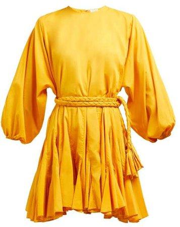 Ella Tie Waist Puff Sleeve Cotton Dress - Womens - Yellow