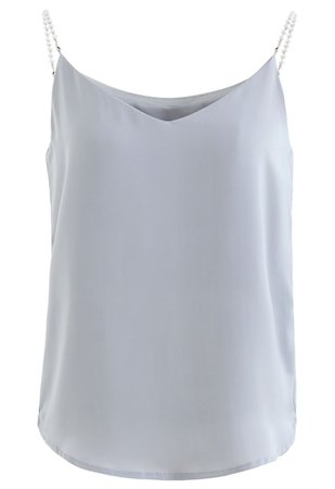 Pearl Straps Satin Cami Tank Top in Dusty Blue - Retro, Indie and Unique Fashion