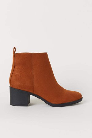 Ankle Boots with Zip - Beige
