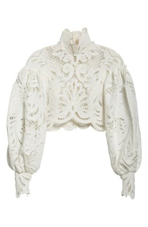 Zimmermann Wavelength Guipure Lace Crop Balloon Sleeve Blouse | Nordstrom