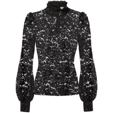 Black Lace Turtleneck Blouse