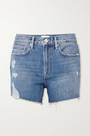 Le Brigette Distressed Denim Shorts - Light denim