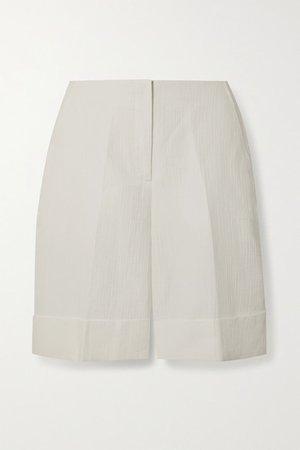 Linen And Cotton-blend Jacquard Shorts - White