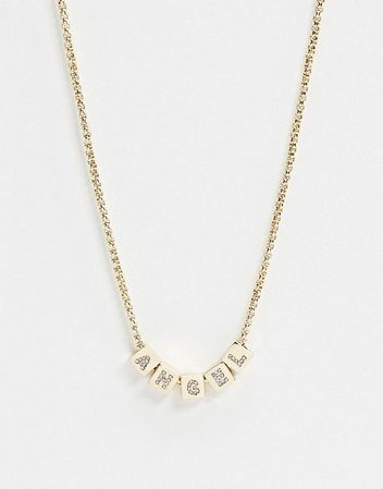 ASOS DESIGN necklace with angel cube pendants in gold tone | ASOS